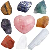 TUMBEELLUWA Tumeelluwa 7 Chakra-Kristalle Set Stein Heilstein Edelstein Naturquarz Meditation Reiki Selenite Stick+7 Chakra Raw Stone+Heart Shape Pocket Stone