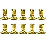 Kamenda 10X Gold Stumpen Kerzen St?Nder Taper Kerzen Halter Leuchter Weihnachten Party Dekor