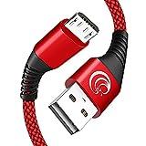 Micro USB Kabel 2 Stück 2M, Nylon USB Schnellladekabel Ladekabel Handy Micro Kabel für Android Smartphones, Samsung Galaxy S7/ S6 / J7/ Note 5, Huawei, Sony, Nexus, Kindle, HTC, PS4, Rot