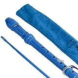 YHRJ Flûtes Soprano 6-Loch-Sopranblockflöte nach Deutscher F-Klappe, Tragbare Hochtonflöte für Anfänger, Aufbewahrungsbeutel + Reinigungsstäbchen (Color : Blue, Size : 33cm)