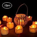 innislink LED Kerzen, LED Flammenlose Kerzen mit Timerfunktion 12pcs Teelichter Flackern Elektrische...