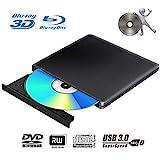 Externes 3D Blu Ray DVD Laufwerk Brenner USB 3.0 Tragbare Ultra Slim BD/CD/DVD RW Player Disc für...