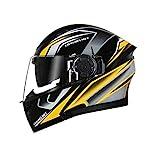 U/D. Bluetooth Helm Doppel-Objektiv der elektrischen Motorrad-Männer und Frauen Vier Jahreszeiten Universal-Jethelm Vollhelm Helm (Size : XL)