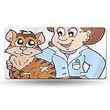 CDMT-XU1 Cool Metal Nummernschild, Doktor Katze im Tierarzt Veterinärberuf Medical Cartoon Pet Car Front Nummernschild 6 Zoll x 12 Zoll
