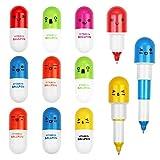 KBNIAN 24 Stücke Mini Kapsel Stifte Pillen Kugelschreiber Kreativer Einziehbarer Pille Druckkugelschreiber für Kinder Studenten Kinder (6 Farben)