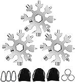 Geschenke für Männer, 3 Pack Edelstahl 18 in 1 Schneeflocken Multitool mit Schlüsselring, Tragbare Multifunktions Schneeflocke für Männer, Frauen (Silber)