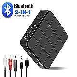Bluetooth Adapter,2 in 1 Bluetooth 5.0 Transmitter Empfänger Sender Receiver mit RCA & 3.5 mm AUX...