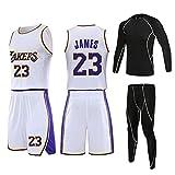 VNBA James Youth Basketball Trikot, Lakers 23 Basketball Trikot und Shorts mit Herren Netz...