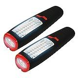 Eaxus 2er Set 37 LED Arbeitsleuchte - Taschenlampe/Werkstattlampe mit Haken & Magnet