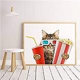 Mode kreative Haustier Modell niedliche lustige Katze Film ansehen Selfie Wohnkultur Tier Poster...
