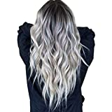 LIDIWEE Frauen lange gewellte Haare Perücke Silber dunkelgrau synthetische Lace Front Perücken...