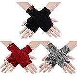 ECOMBOS Damen Fingerlose Handschuhe - Winter Armstulpen Handschuhe Damen Pulswärmer Strick Kurzer...