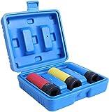 FIXKIT Schlagschrauber Nüsse 1/2 zoll, 17/19/21 mm, Steckschlüsselsatz (Chrom-Vanadium-Stahl) mit Kunststoffhülse für den Reifenwechsel