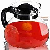 KADAX Glaskanne, 1.95L, feuerfeste Teekanne aus Borosilikatglas, Kunststoff, große Kanne mit Deckel, Teekrug für Getränke Kaffee, Tee, Saft, Wasser, hitzebeständig (anthrazit)
