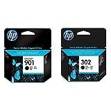HP 901 Schwarz Original Druckerpatrone für HP Officejet 4500, J4524, J4580 & 302 Original Druckerpatrone (für HP Deskjet 1110, 2130, 3630, HP OfficeJet 3830, 4650, 5230, HP Envy 4520) schwarz