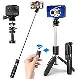 SYOSIN Selfie Stick mit Handy und Kamera Stativ (100cm) - 4 in 1 Selfiestick mit...