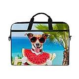HaJie Laptoptasche Sommer Tropical Beach Wassermelone Hund Computer Tasche 14–14,5 in Schutztasche...