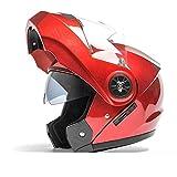 U/D. Double Mirror Jethelm Männer Vier Jahreszeiten Universal-Helm des elektrischen Motorrad-Helm Full Cover Bluetooth Damen Vollvisierhelm (Size : L)