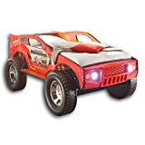 Stella Trading JEEP Autobett mit LED-Beleuchtung 90 x 200 cm - Aufregendes & hohes SUV Auto Kinderbett für kleine Rennfahrer in rot - 120 x 81 x 211 cm (B/H/T)