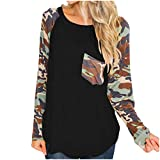 kolila Frauen Camouflage Print Stitching Langarmshirts Tops Lose Sweatshirt Casual Damen Pullover...