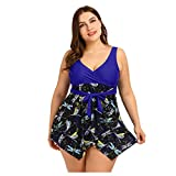 Plus Size Tankinis für Damen Modedruck Zweiteiliger Badeanzug Großer Rüschen-Badeanzug mit...
