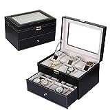 xiangqian-shoushihe Schmuckschatulle für Halsketten und Ohrringe, abschließbare SchmuckablageUhr Display Box Uhr Box schmuckschatulle aufbewahrungsbox