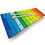 Spielzeug Xylophon für Kinder aus Holz mit 12 Tönen - UNGESTIMMT - Wunderschönes Glockenspiel mit...