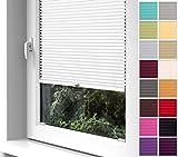 Home-Vision Premium Plissee zum Anschrauben in der Glasleiste Innenrahmen (Weiß, B55cm x H100cm)...