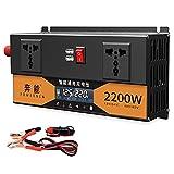 lxiluv Wechselrichter,Wechselrichter Reiner Sinus 2200W/2600W/3200W Spannungswandler 12v 220v mit Fernbedienung/USB Spannungswandler 3200W Stromumwandler Power Inverter KFZ,24V-2200W
