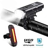 CPZ LED Fahrradlicht Set, Fahrradscheinwerfer Warnleuchte MTB Smart Frontleuchte USB Ladelampe...