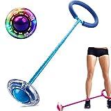 Qishun LED-Blinkender Springender Ring-bunter Knöchel-Sprung-Seil-Sport-Schwingen-Ball (Blau)