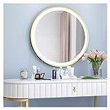 Wunderschön an der Wand montierter Kosmetikspiegel, Schminktisch-LED-Spiegel mit Lampe, runder...
