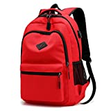 Tingxx Casual Backpack Charging Backpack Student Schoolbag Solid Color Waterproof Backpack Red_