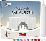 Brubaker 20er Pack Baumkerzen Wachs - Weihnachtskerzen Pyramidenkerzen Christbaumkerzen - Weiß