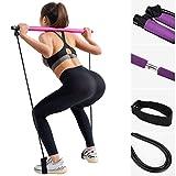 Tragbare Pilates Bar Kit mit Widerstandsband Yoga Übung Pilates Bar mit Fußschlaufe Body Workout...