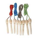 SIQIMI Springseil mit Holzgriff, für Kinder im Freien, Sport, Fitness, Nylon, Seile für Fitness