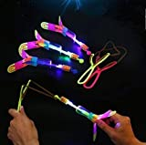 YAOGZ 5PCS Glühende leuchtende Neuheit Sling Shot Katapult Pfeile Fliegen Flash-Gummi LED Light...