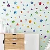 WandSticker4U- 62x Aquarell Bunte Sterne zum Kleben I Wandtattoo Sterne Kinderzimmer Aufkleber...