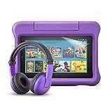 Fire 7 Kids-Tablet (violette kindgerechte Hülle) + BuddyPhones PlayTime-Bluetooth-Headset (violett, Altersklasse: 3-7 Jahre) + NuPro-Displayschutzfolie (2er-Pack)