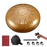 CCFCF Steel Pan Drum Stahl Tongue Drum 13-Tone 12-Zoll Stahl-Zungentrommel mit 1 Paar Schlägeln...