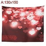 Lukame Valentinstag Tapisserie - Giltter Liebesherzform Digitaldruck Hintergrundtuch Innenhängendes...