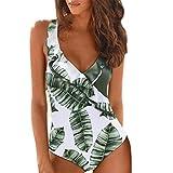 jieGorge Damen Badeanzüge Räumungsverkauf, Frauen Sommer Rüschen Sexy Leaf Print Badebekleidung...