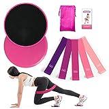 Soketop 2 Kern Übung Sliders & 5 Fitnessbänder Home Workout-Set für Teppich- und Hartböden,Core...