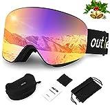 outlife Skibrille Snowboardbrille Hyperboloid Schneebrille OTG Anti-Fog UV400 Schutz Weitsicht...