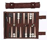 Sondergut- Backgammon - Echtleder Backgammon - Reise Backgammon - Das Original - Farbe: Mocca