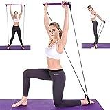 Tragbares Pilatesstangen-Set mit Widerstandsband, Yoga-Übung, Pilates-Stick mit Fußschlaufe für...