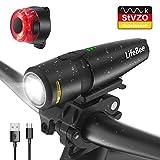LIFEBEE Fahrradlicht LED Set, USB Fahrradlichter Stvzo Zugelassen Vorne Fahrradbeleuchtung, IPX5...