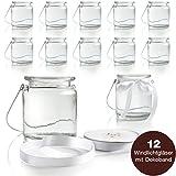 WeddingTree 12 x Windlicht Glas mit Bügel und Dekoband weiß - Teelichtgläser - 9 cm hoch -...