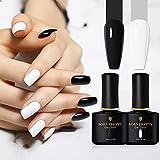 BORN PRETTY UV Gel Nagellack Set, 2 Flaschen Schwarz Weiß Farbe UV Nagellack Solid Color, Tränken weg Nail Art Gel Politur