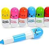 Ogquaton 6pcs Mini Retractable Vitamin Pille Stift mit sechs niedlichen Emoticons Neuheit Kapsel Kugelschreiber zugunsten Geschenk zufällige Farbe langlebig und nützlich